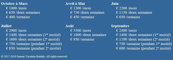 T2 prices 2017-2018 FR